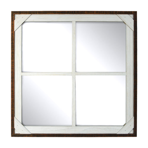 Prinz Crosshatch Wood Framed Multi-Pane Mirror, Walnut-White