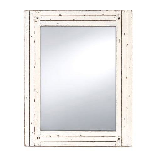 Homestead 18.5-Inch by 23.5-Inch Distressed Wood Mirror, Antique White