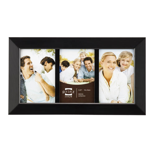 Dakota 3-Opening Collage Frame for 4-Inch by 6-Inch Photos, Black