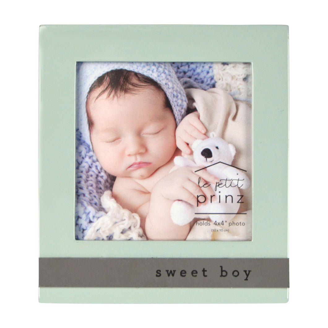 Sweet Boy 4 x 4-inch Sentiment Baby Picture Frame, Light Green