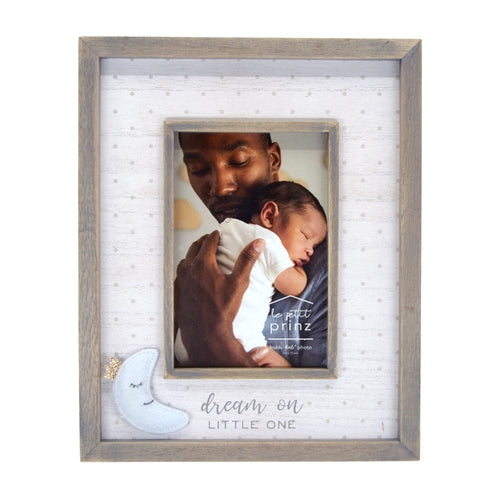 Dream On Little One Plush Moon 4 x 6-inch Wood Picture Frame