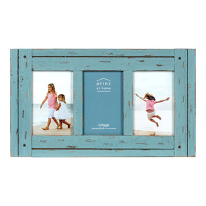 Homestead Collage 4-inch by 6-inch Picture Frame for Three Photos, Distressed Blue
