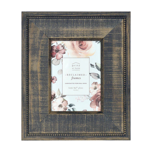 Prinz Reclaimed 5 X 7-Inch Beaded Wood Picture Frame, Gray