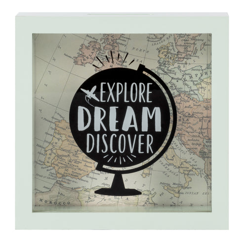 Wooden 6 x 6 Explore Dream Discover Box Bank, White