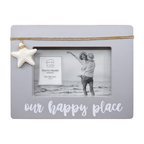 Our Happy Place Distressed 4-inch by 6-inch Gray Shadow Box Picture Frame