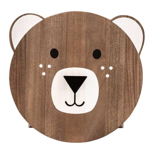 Dark Brown Bear Shaped Children's Stool with Printed Seat