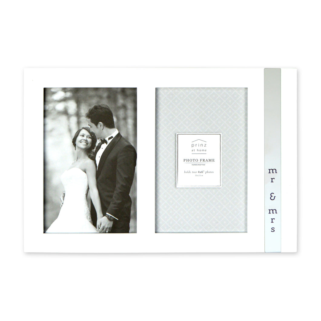 Mr and Mrs Metal Band Vertical Glossy Double Picture Frame
