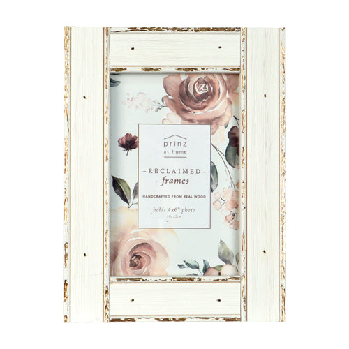 Prinz White Metallic 4 x6-inch Wood Picture Frame
