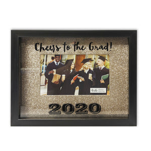 Shadowbox Cheers to the Grad 2020 Picture Frame 4-inch by 6-inch Gold Glitter