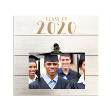 Load image into Gallery viewer, White Shiplap 9-inch by 9-inch Clip Picture Frame with Gold Metallic Foil Class of 2020 Graduation Frame