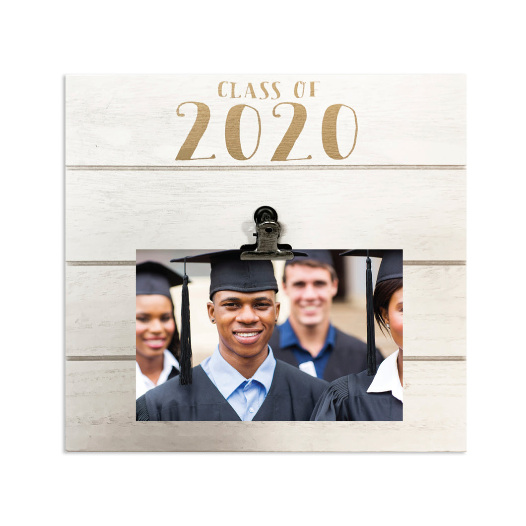 White Shiplap 9-inch by 9-inch Clip Picture Frame with Gold Metallic Foil Class of 2020 Graduation Frame