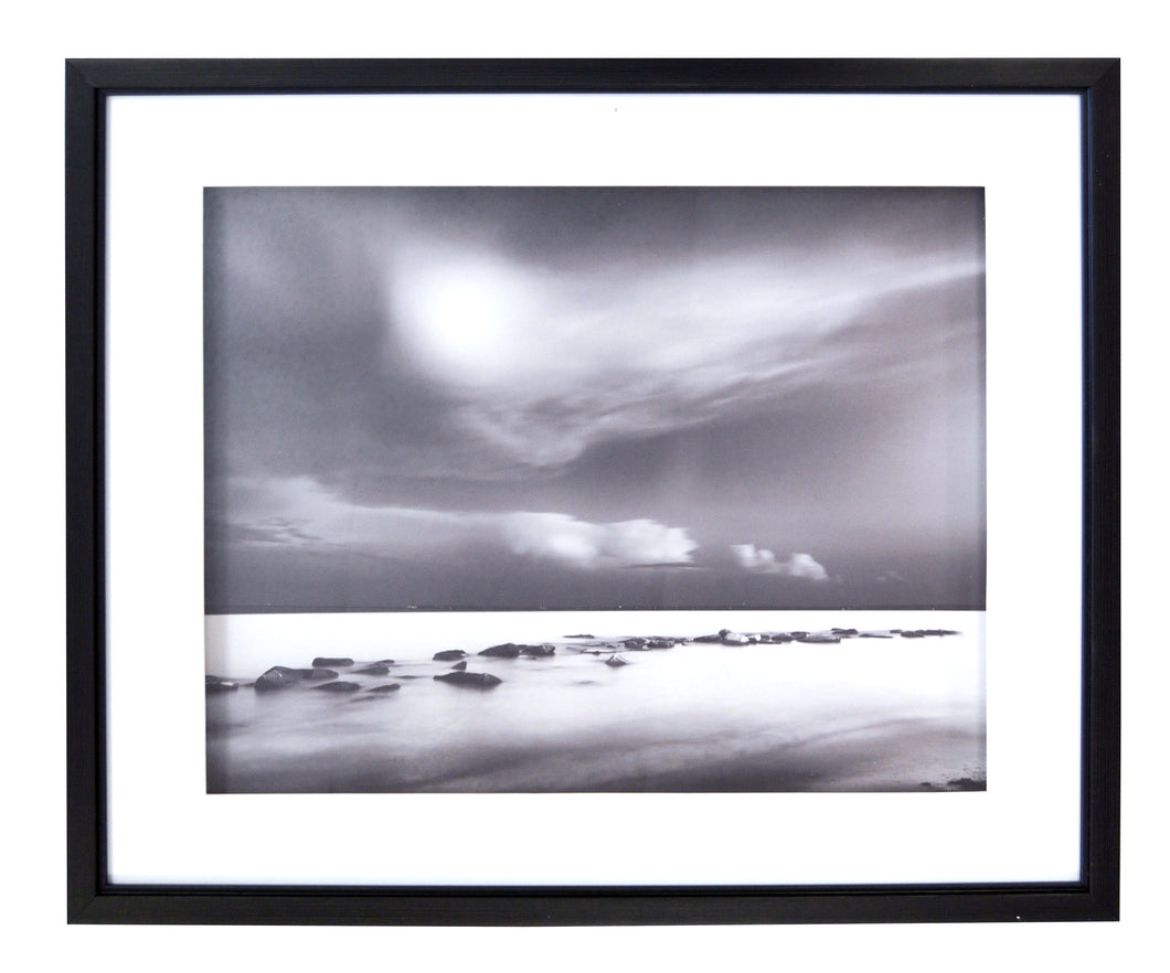 Shadowbox Behind Glass Black and White Tide 25-inches by 21-inches