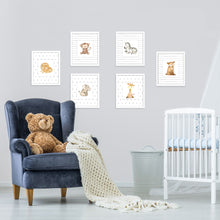 "Load image into Gallery viewer, Ava Barrett Baby Animal 10""W x 12""H Framed Wall Art, Set of 6"