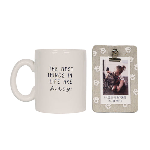 The Best Things in Life are Furry Clip Photo Frame & Coffee Mug Gift Set