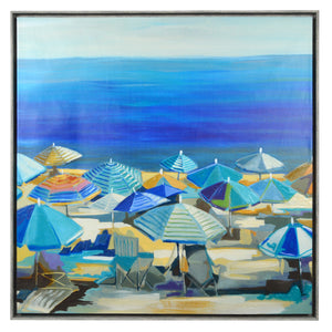 "Lisa Jardine Coastal Wall Art Beach Umbrellas 35"" x 35"" Framed Canvas"