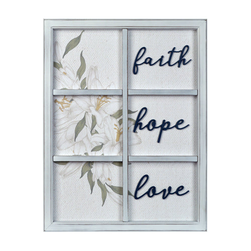 Faith Hope Love Decorative Window Wall Art Hanging Plaque