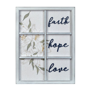 "New View Studio 17""x 22"" Faith Hope Love Decorative Window pane Wall Art Hanging Plaque"