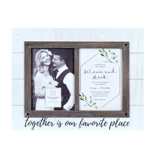 Wedding Together is Our Favorite Place, Rustic Plank Collage Picture Frame, White