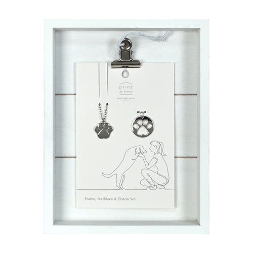 Dog Lover Clip Picture Frame, Heart Necklace and Charm Set