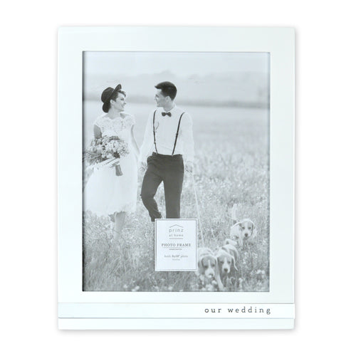 Our Wedding Metal Band Vertical Glossy Picture Frame