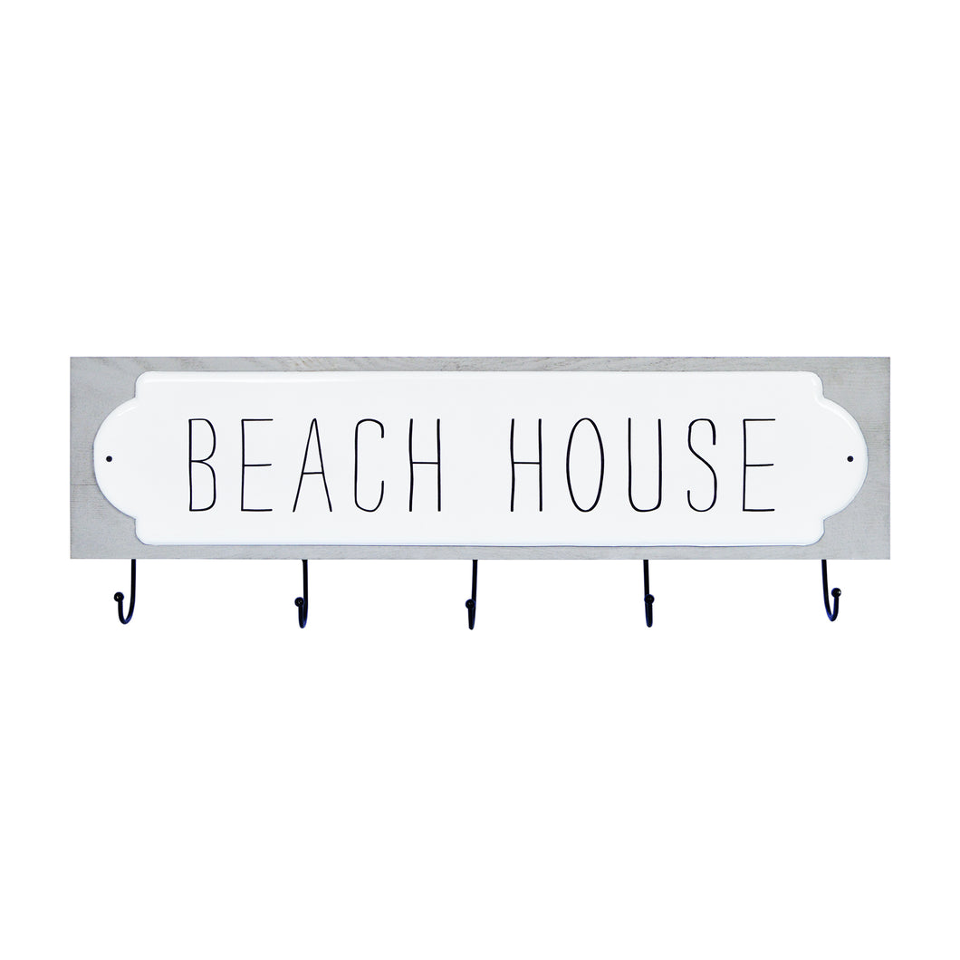 Beach House Decorative Plaque Wall Hooks