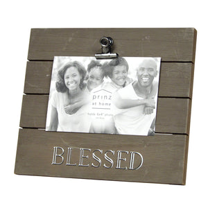 "Plank Sentiment ""Blessed"" 4-inch by 6-inch Clip Picture Frame, Brown"