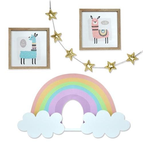 Kids Room Magical Llama Wall Decor Set