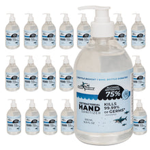 Load image into Gallery viewer, Germ Shark Hand Sanitizer Gel with Alcohol - Bulk Case of 24 500ml (16.9 ounces) Pump Bottles of Hand Sanitizer with Alcohol - 75% Ethyl Alcohol