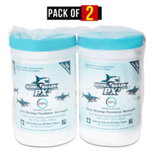 Load image into Gallery viewer, Germ Shark PX3 70% Isopropyl Alcohol Hand Sanitizer Wipes - Set of 2 Countertop/Desktop Sanitizing Resealable Canisters (105 Wipes Each, 210 Total) - Medical Grade Alcohol Wipes
