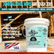 "Laden Sie das Bild in den Gallery Viewer, Germ Shark PX7 Sanitizing Wipes - Case of 4 - Jumbo (9.5x12"") Bulk Alcohol Hand Wipes in Resealable Keep Fresh Bucket - Made in the USA with 70% Ethyl Alcohol - 1100 Industrial Large Wipes"