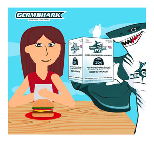 "Germ Shark PX7 Sanitizing Wipes - Case of 4 - Jumbo (9.5x12"") Bulk Alcohol Hand Wipes in Resealable Keep Fresh Bucket - Made in the USA with 70% Ethyl Alcohol - 1100 Industrial Large Wipes"