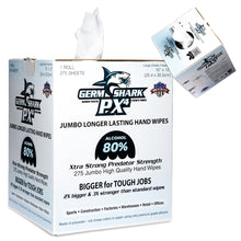 Load image into Gallery viewer, Germ Shark PX4 Sanitizing Wipes - 80% Ethyl Alcohol Wipes for Hand Sanitizing - 275 Jumbo Size Hand Sanitizer Wipes - ORIGINAL version