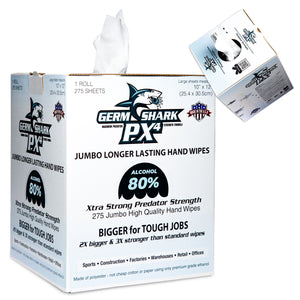 Germ Shark PX4 Sanitizing Wipes - 80% Ethyl Alcohol Wipes for Hand Sanitizing - 275 Jumbo Size Hand Sanitizer Wipes - ORIGINAL version
