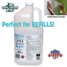 Load image into Gallery viewer, Germ Shark Hand Sanitizer Spray - Made in USA - One Bulk Gallon Antibacterial Hand Sanitizer Refill - 80% Ethanol Alcohol Based Liquid Disinfectant