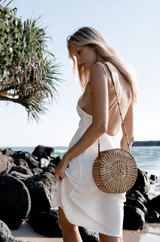 The Ava Bag hartwood house bamboo rattan round bag