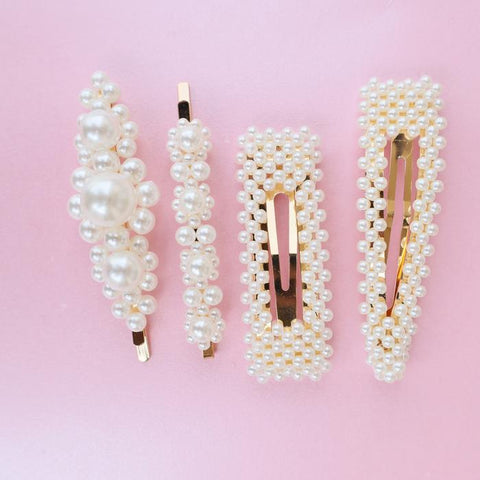 Faux Pearl Hair Clips (Set of 4)