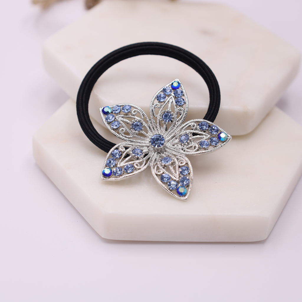 Blue Crystal Flower Ponytail Holder