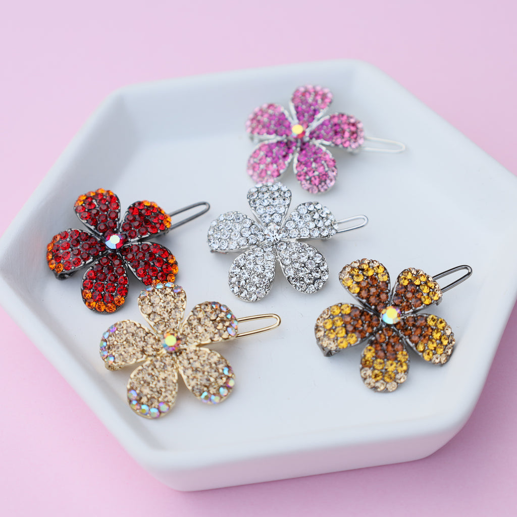 Avens Crystal Flower HairPin Barrette
