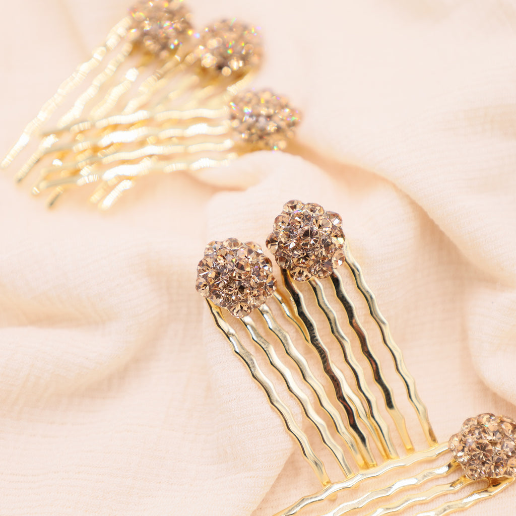 Gold Crystal Mini Hair  Combs (Set of 6)