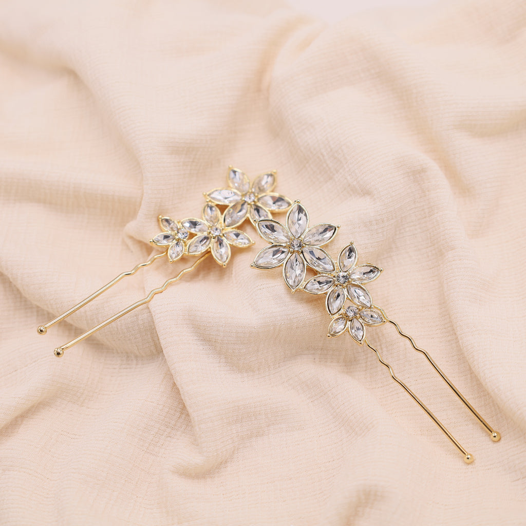 Gold Flower Hair Pins- Set Of 2