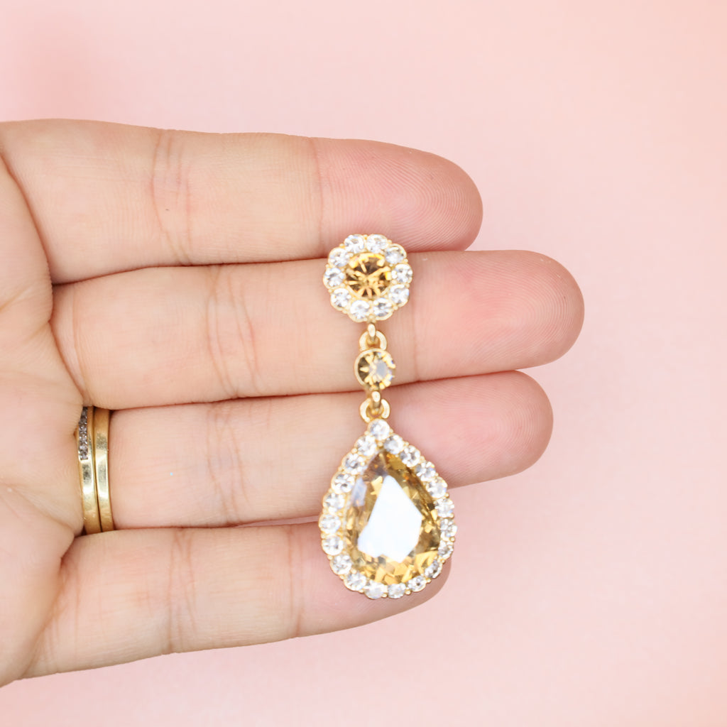 Champagne Kate Drop Bridal Earrings