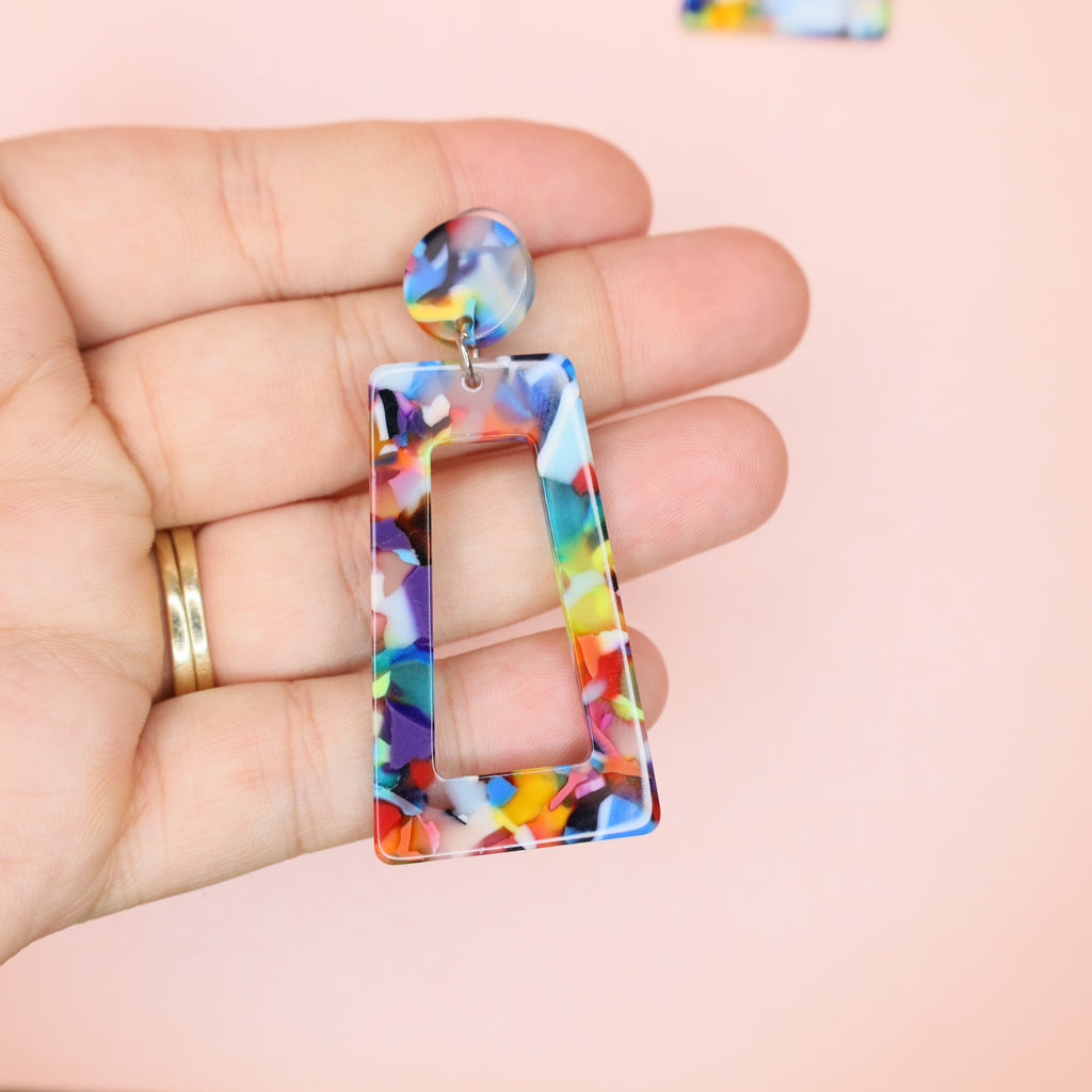 Rectangle  Colorful  Geometric Resin Earrings