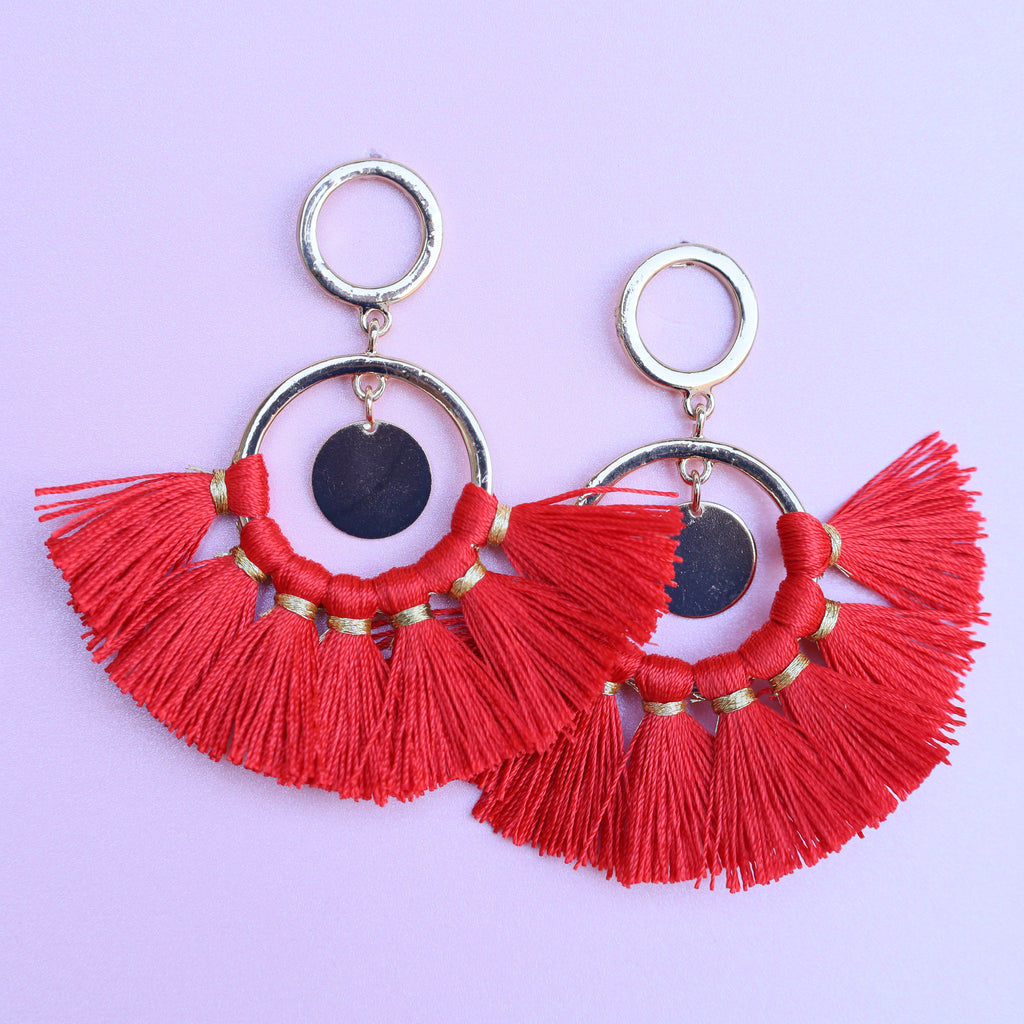 Red Big Statement Tassel Earrings