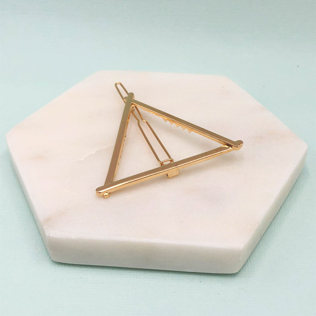 geometric Triangle barrette