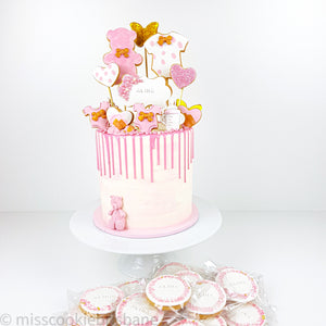 Cookie Decorated Baby Girl Shower Cake
