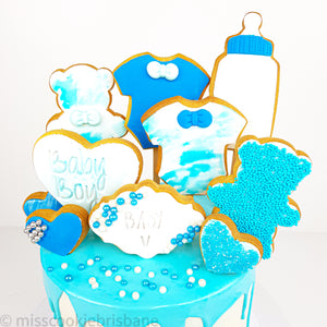 Cookie Decorated Baby Boy Shower Cake