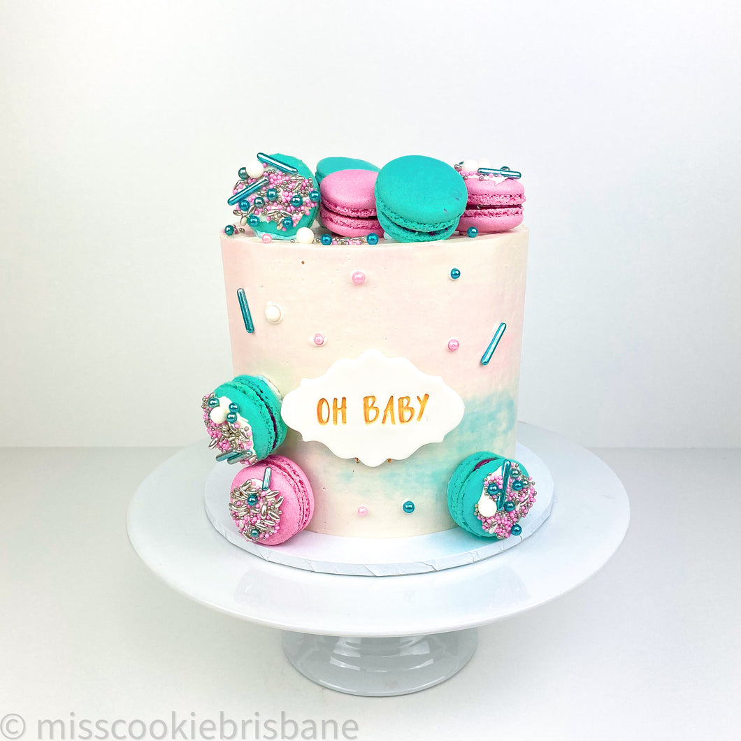 Gender Reveal Cake with Sprinkled Macarons