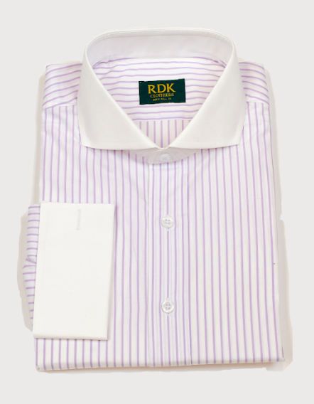 RDK Purple Stripe White Dress Shirt