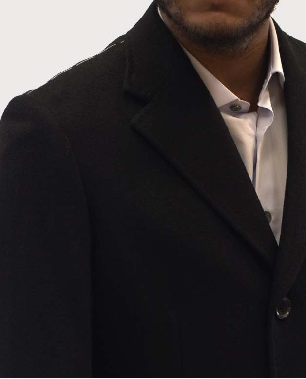 Black Men's Long Topcoat