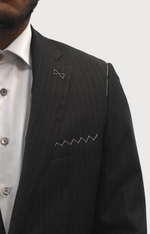 Load image into Gallery viewer, Loro Piana Charcoal Grey Pinstriped Suit